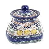 Polish Pottery Aztec Flower Small Garlic Keeper