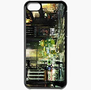Personalized iPhone 5C Cell phone Case/Cover Skin Art City People Machinery Lights Night Black