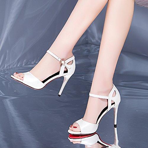 Vivioo Vrouwenorganisaties Sandalen Met Hoge Hakken Sandalen Hoge Hakken Shoeslace Sandalen Vrouwen Prima Met De Zomer Wilde Een Open Teen Vis Mond Zwarte Schoenen Witte Hoge Hakken