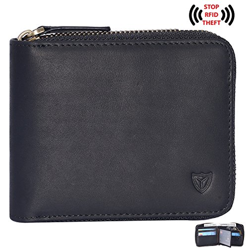 Zipper Leather Mens (RFID Men's Leather Zipper wallet Zip Around Wallet Bifold Multi Card Holder Purse (Black))