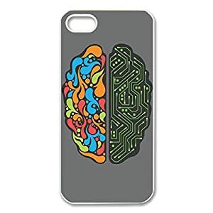 Custom Creative and Logic Brain Printed Hard Case Protector Snap On Cover For Iphone 5 /5s (White 102132) by icecream design
