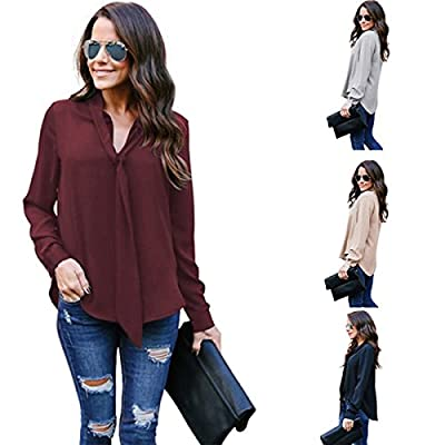 TAORE Womens Tops Women's Solid Chiffon Long Sleeve Casual Shirts V-Neck Tie Tee Shirt For Work