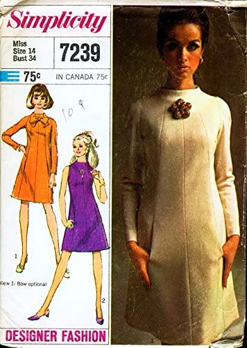 Amazon Com Simplicity 7239 Vintage Misses Designer Dress Sewing Pattern Check Listing For Size Simplicity Arts Crafts Sewing