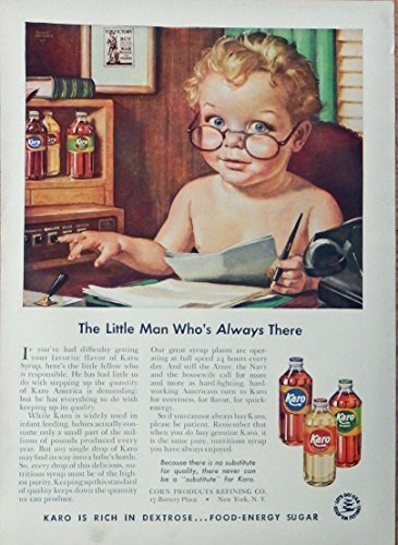 Karo Syrup 40's print ad. vintage Color Illustration, the little man who's always there, 1942 Woman's Day Magazine Art - Vintage Womans Day Magazine