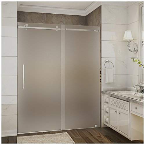"Aston Moselle 56-60"" x 75"" Completely Frameless Sliding Shower Door in Frosted Glass, Brushed Stainless Steel"
