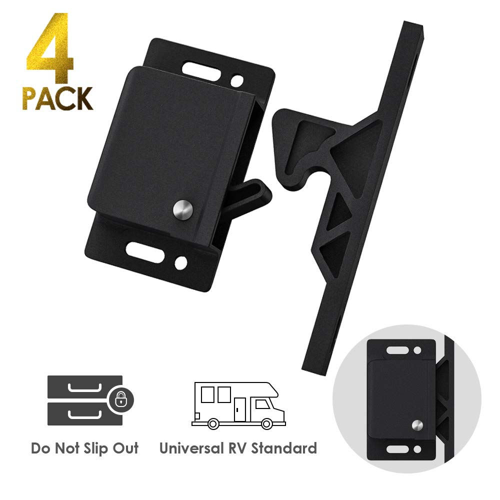 Cabinet Door Latch/ 4 Pack RV Drawer Latches 8 lbs Pull Force Cabinet Latch, Holder for Home/RV Cabinet Doors with Mounting Screws - Perfect for RV, Trailer, Motor Home, Camper, OEM Replacement