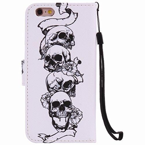 Custodia Apple iPhone 6s (4.7) Cover Case, Ougger Portafoglio PU Pelle Magnetico Stand Morbido Silicone Flip Bumper Protettivo Gomma Shell Borsa Custodie con Slot per Schede, Skull