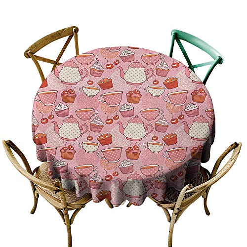 Mkedci Waterproof Tablecloth Cartoon Teapots Cups with Polka Dots Patterns Cherries Cakes Tea Coffee Pattern and Durable D43 Pink Orange and Red