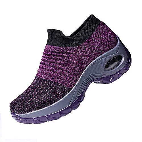 Ablanczoom Womens Walking Shoes Wedges Platform Sneakers Comfortable Breathe Mesh Slip On Air Cushion Running Tennis Shoes for Women Purple