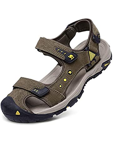 52836e83c CAMEL CROWN Men's Leather Sandals Waterproof Hiking Sandals for Men Closed  Toe Adjustable Strap Athletic Outdoor