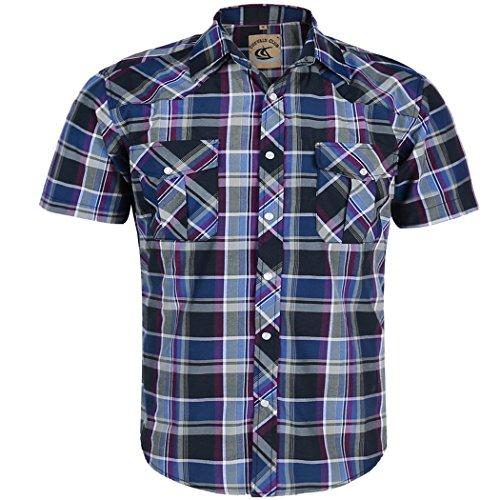 Coevals Club Men's Button Down Plaid Short Sleeve Work Casual Shirt (Purple & Gray #14, S)