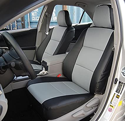 TOYOTA CAMRY 2012 2016 Black Grey Artificial Leather Custom Made Original Fit Front Seat