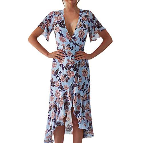 Fitfulvan Womens Sexy Irregular Hem Print Maxi Dress Fashion Design Bohemian High Waist Long Sundresses with Belt Blue