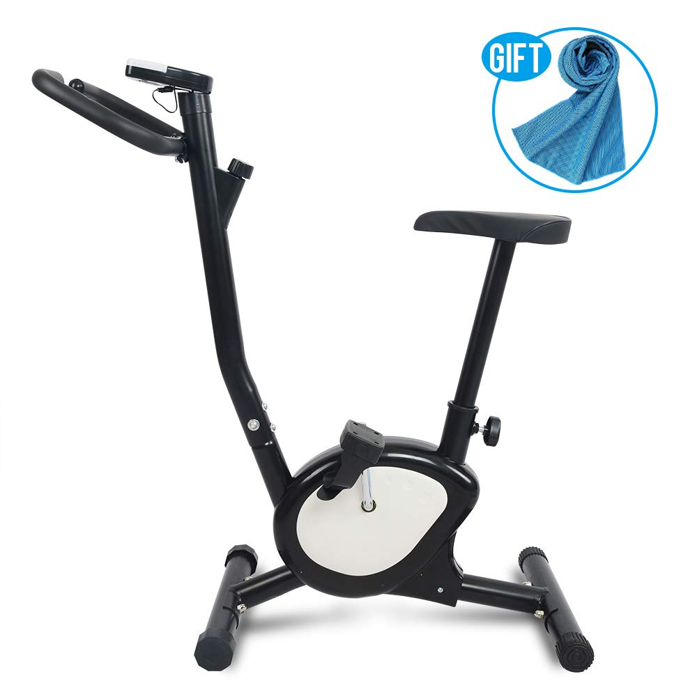 Apelila Exercise Bike Stationary Bike,Cardio Trainer Spinning Bicycle Indoor Cycling Bike (Black+WH)