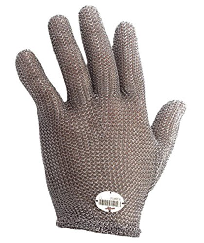 (Wells Lamont Large Silver Whizard Stainless Steel Ambidextrous Reversible Cut Resistant Gloves With Rolled Cuff)