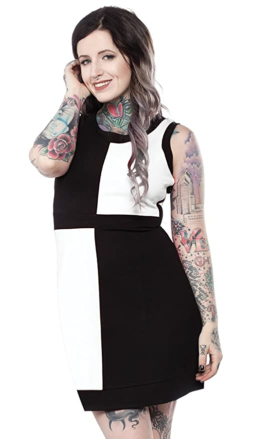 1960s Plus Size Dresses & Retro Mod Fashion Sourpuss Mini Mod Dress Black & White $56.99 AT vintagedancer.com