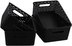 Morcte 4-Pack Black Plastic Baskets, Medium Desktop Organization Basket