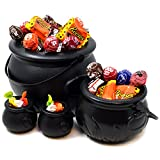 Black Cauldron with Handle 8'' for St. Patrick's Day Party Favor Decorations, Halloween Parties Candy Bucket, Candy Kettle and Pot of Gold Cauldron (Pack of 4)