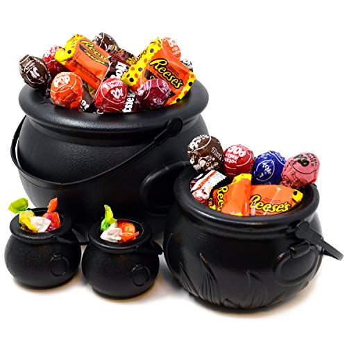 Black Cauldron with Handle 8'' for St. Patrick's Day Party Favor Decorations, Halloween Parties Candy Bucket, Candy Kettle and Pot of Gold Cauldron (Pack of 4)]()