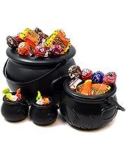 JOYIN 4 stuks zwarte heksenketels met handgrepen, 20,3 cm decoratieve ketel voor snoep voor Halloween party decoratie, snoepemmer, gouden ketel, heksenaccessoires tafeldecoratie partyaccessoires
