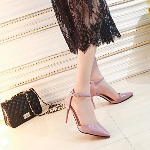 COOLCEPT Mujer Elegant Puntiagudo Tacon alto delgado Sandalias Al Tobillo Zapatos Rosado