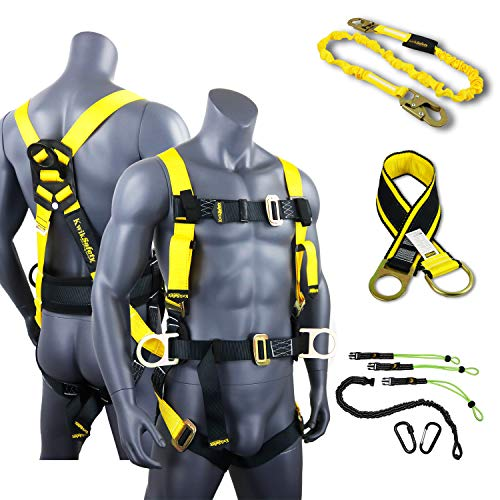 KwikSafety (Charlotte, NC) HURRICANE KIT | 3D Full Body Back Support Safety Harness, 6' Lanyard, 3' Anchor ANSI OSHA PPE Fall Protection Arrest Restraint Equipment Universal Construction Roofer Bucket ()