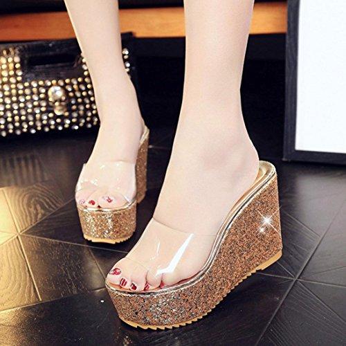 Calzado de mujer,Amlaiworld Las mujeres cubren con los mocasines de las sandalias de los flips-flopes Oro