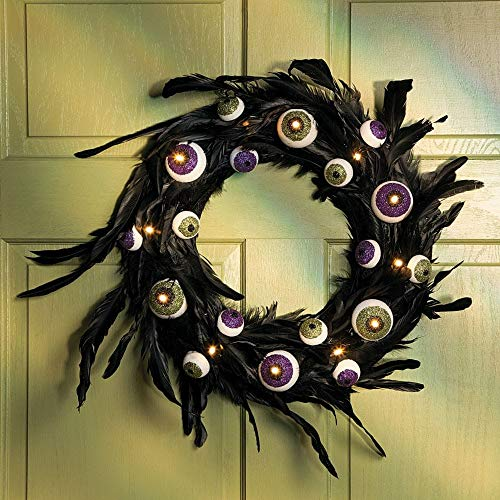 FE-OTC Halloween Wreaths and Floral Decorations Lighted Eyeball Black Feathers