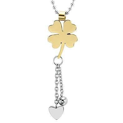 7e734bcb33b5 Daesar Joyería Collar Acero Inoxidable Trébol de Cuatro Hojas con Corazón  Amor Oro Colgante Necklace para Mujer