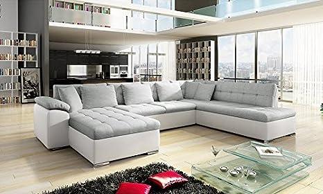 Divano angolare con doppio angolo modello alia di colore grigio