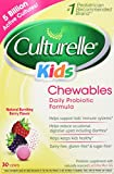 Culturelle Kids Chewables Daily Probiotic Formula, One Per Day Dietary Supplement, Contains 100% Naturally Sourced Lactobacillus GG –The Most Clinically Studied Probiotic†, 30 Count