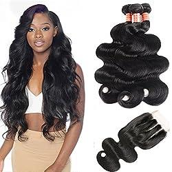 Simei Brazilian Body Wave Virgin Hair Weave Bundles 3 Pcs Lot Unprocessed Human Hair Extensions Natural Black Color Mixed Length (14 16 18+12 Three Part)