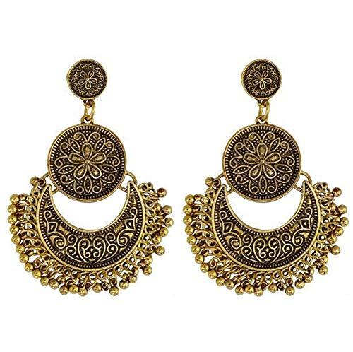 JczR.Y Vintage Carved Dangle Earrings for Women Retro Bohemian Antique Beads Tassel Drop Earrings Female Ear Jewelry Gift (Antique Copper)
