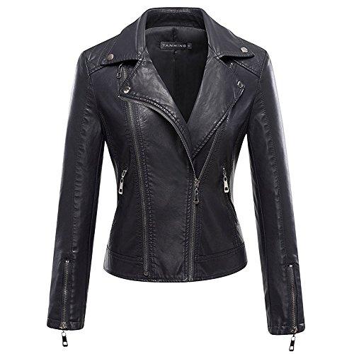 Plus Size Biker Costume (Women's Motorcycle Biker Leather Jacket Coat Zippered Long Sleeve Pu Leather Outwear)