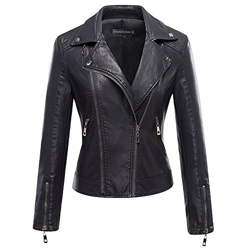 Women's Motorcycle Biker Leather Jacket Coat Zippered Long Sleeve Pu Leather Outwear (Plus Size Biker Halloween Costumes)