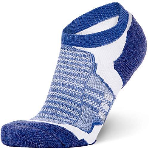 Low-Show Wool Running Socks - Cushioned Merino Wool Athletic Socks for Men and Women, Moisture Wicking (Blue, Medium)