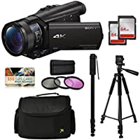 Sony FDR-AX100 4K Ultra HD Camcorder Video Camera Kit, 128GB Memory + Tripod + Monopod + Bag + UV CPL FLD Filter Set
