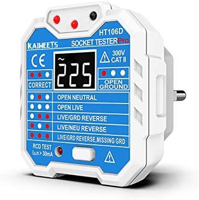 KAIWEETS HT106D Comprobador de Enchufe de 48 a 250V Probador de RCD Enchufe con LCD Pantalla que Medir Voltaje, Examinar Circuito y Probar RCD Interruptor, CAT II 300V