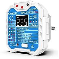 Comprobador de enchufe de 48 a 250V, KAIWEETS Probador de enchufe con LCD pantalla que medir voltaje, examinar circuito…