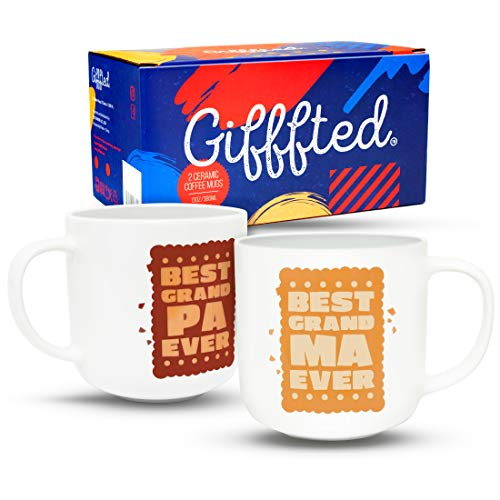 (Gifffted Grandparents Mugs, Worlds Best Ever Grandma and Grandpa Coffee Mugs Gifts From Grandson Granddaughter Funny Mug Presents For Great Grandparent Anniversary Valentines Day, 2 Set Gift Cups V2)