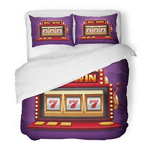 SanChic Duvet Cover Set Colorful 777 Jackpot Slot Casino Machine One Arm Bandit for Lucky Seven in Gambling Game Prize Decorative Bedding Set with 2 Pillow Shams Full/Queen Size ()