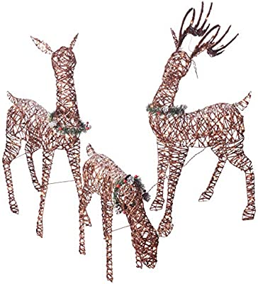 Amazon Com Christmas Reindeer Family 3 Piece Set Pre Lit Rattan Holiday Deer Includes 52 Buck 44 Doe And 28 Fawn Lighted Reindeer Christmas Decor For Indoor Or Outdoor Yard Art