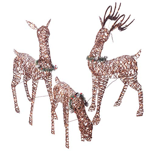 "(Christmas Reindeer Family 3 piece Set | Pre-lit Rattan Holiday Deer Includes 52"" Buck, 44"" Doe and 28"" Fawn 