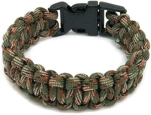 ACAMPTAR R Bracelet de Survie avec U Boucle Corde de Parachute Paracord exterieure Urgence Evasion Rapidement Woodland Camo