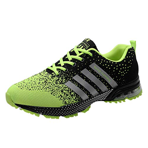 Sunhusing Men Women Couples Solid Color Mesh Breathable Sneakers Lace-Up Athletic Running Shoes Green