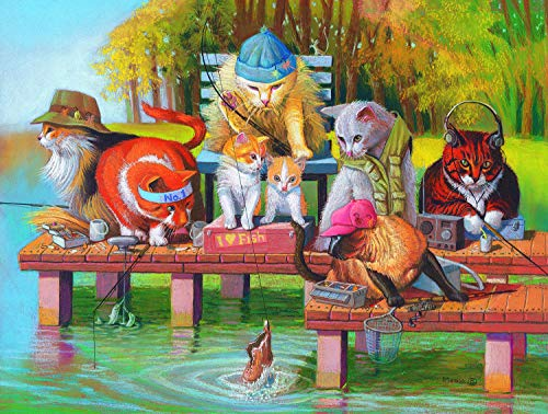 Sunsout 2019 Fishing on The Dock by Artist Jack Sorenson 300 Piece Cats Jigsaw Puzzle (Jack Sorenson Puzzles)