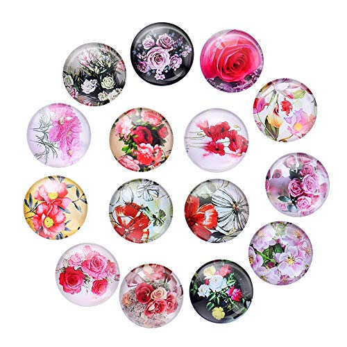 15Pcs Watercolor Flower Pattern Magnets, Beautiful Decorative Fridge Magnets - Ideal for Holding Paper, Photo, Calendar, Card on Refrigerator, Whiteboard, Crystal Glass]()