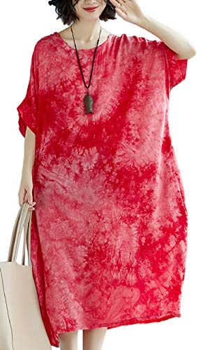 Woman's Loose-Fit Tie-Dye Batwing Sleeve Cotton Roomy Dress with Pocket (One Size, Red)
