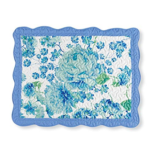 (Collections Etc Lovely Blue and Green Floral Garden Pillow Sham with Scalloped Edges - Bedroom Décor, Blue, Sham)
