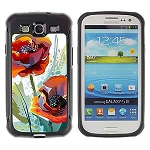 "Pulsar iFace Series Tpu silicona Carcasa Funda Case para Samsung Galaxy S3 III I9300 , Flor de la amapola primavera Naturaleza Acuarela"""